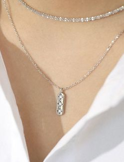 Sterling/Platinum Plated CZ Pendant Necklace for Sale in Mount Clare,  WV