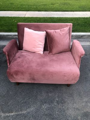 Beautiful pink like new small futon from Artdeco Home Inc for Sale in Tustin, CA