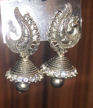 New Retro Peacock silver oxidized rhinestones Indian earrings for Sale in Schaumburg, IL