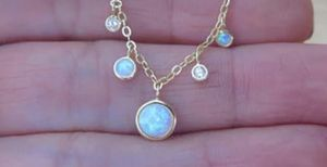 Sterling Silver CZ Opal Gold Chain Pendant Necklace for Sale in Wichita, KS