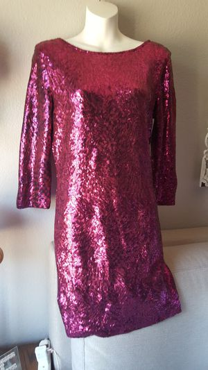 Hot Pink sequin evening cocktail dress, size large for Sale in Fallbrook, CA