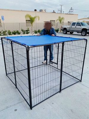 """New 48"""" Tall x 32"""" Wide Panel Heavy Duty 8 Panels Dog Playpen Pet Safety Fence Adjustable Shape and Space with Sunshade Tarp Canopy Cover for Sale in Whittier, CA"""