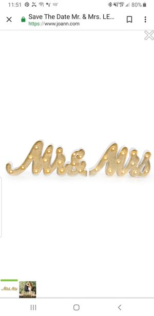 Lighted/glittery Mr. & Mrs. Sign for Sale in Mesa, AZ