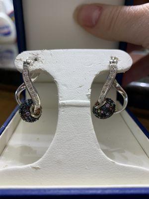 Sterling silver and diamond hoop earrings for Sale in Camas, WA