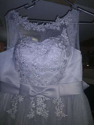 Grey Lacy brides maid/ prom dress for Sale in Peoria, IL