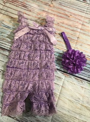 Brand new girls 2pc petti romper hair bow bands photo prop costume dress up this fits size 0-6m 3-6m 6m for Sale in Freemansburg, PA