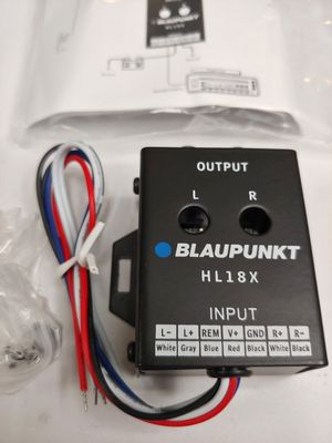 Installation parts : Blaupunkt 2 channel converter high to low built in 12v remote turn on + 6 feet rca jack for Sale in Santa Ana, CA