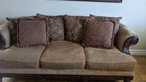 Beautiful Red and Gold Fabric Couch for Sale in Ontario, CA