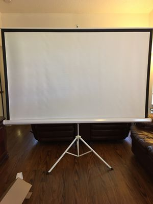 """Portable 100"""" 4:3 Projection Screen Tripod Pull-up Matte White New Condition in Box. $130 OBO. for Sale in Lake Worth, FL"""