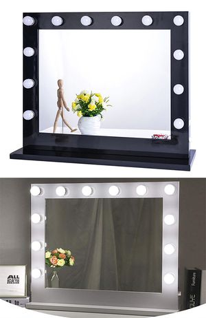 "(NEW) $180 X-Large Vanity Mirror w/ 12 Dimmable LED Light Bulbs, Hollywood Beauty Makeup Power Outlet 32x26"" for Sale in South El Monte, CA"
