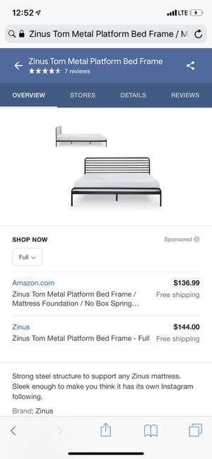Full metal bed frame with headboard for Sale in Phoenix, AZ