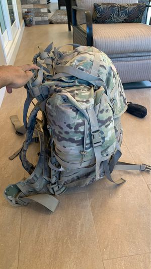Military rucksack with sleeping gear for Sale in Pomona, CA