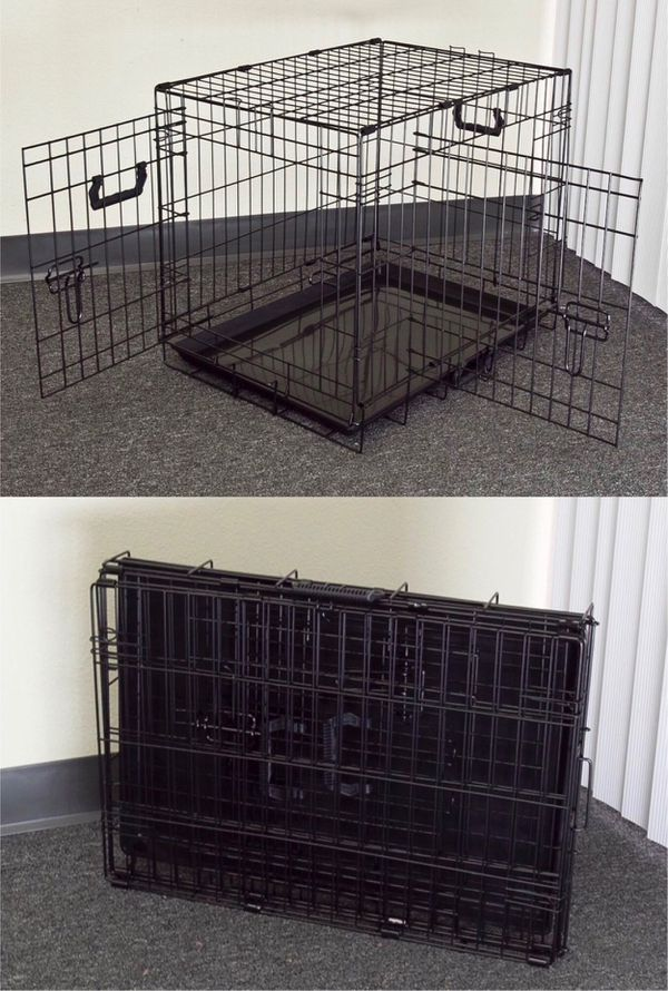 New in box 24x17x20 inches tall foldable 2 doors dog cage crate kennel 25 lbs capacity jaula de perro