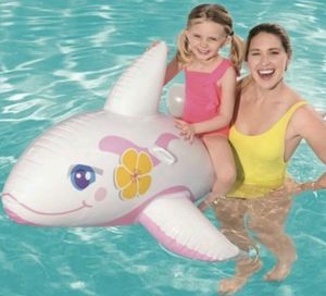 "H2O GO! Pink Whale Ride On 62"" x 37"" Transparent Inflatable for Sale in Itasca, IL"