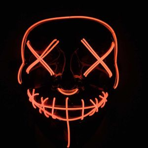 New halloween costume mask cosplay rave party LED glow scary mask costume party red green or blue purge movie dance club for Sale in Los Angeles, CA