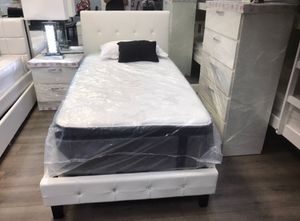 Brand new Twin Diamond bedroom set 3 pc in White or Black no mattress // Miriams furniture Mon/Sat 11/5 pm 719 *E *9th *Street Hialeah *3 3 0 1 0 for Sale in North Miami, FL
