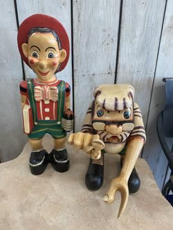 Vintage 1950's Geppetto & Pinocchio Disney Wooden Hand Carved Store Display for Sale in Fort McDowell,  AZ
