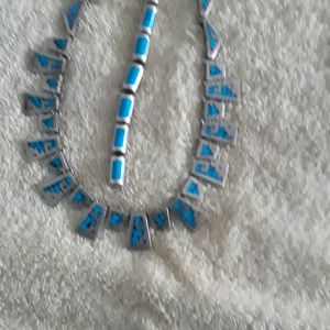 Beautiful sterling silver necklace ingrave with turquoise for Sale in Alexandria, VA