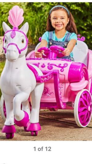 Disney princess horse carriage 6v ride on toy huffy for Sale in Clifton, NJ