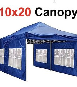 $210 (new in box) heavy duty 10x20ft canopy pop up tent with side walls instant shade carry bag rope stake, blue color for Sale in Pico Rivera,  CA