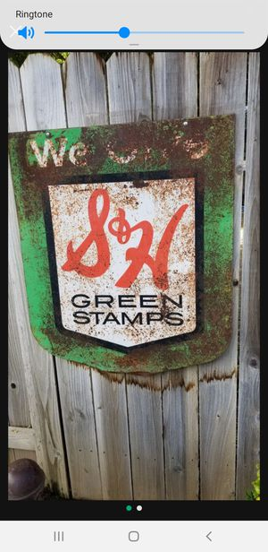 👀🙋♂️ VINTAGE 1960's DOUBLE SIDED S & H GREEN STAMPS METAL SIGN. Asking $125.00 for Sale in Bakersfield, CA
