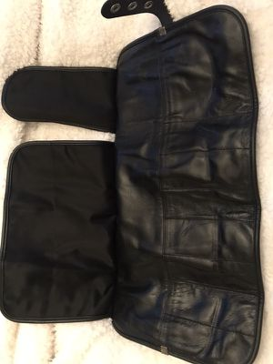 Never used large black leather hair cutting shear or makeup brush roll for Sale in West Deptford, NJ