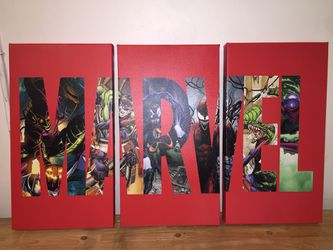 Marvel (spider man, captain America, iron man) Large Canvas print for Sale in Riverbank,  CA
