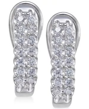 Stunning 14K Diamond Hoop Earrings for Sale in Hoffman Estates, IL