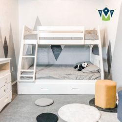 Twin Over Full Bunk Bed With Trundle. $53 DOWN PAYMENT for Sale in Orlando,  FL