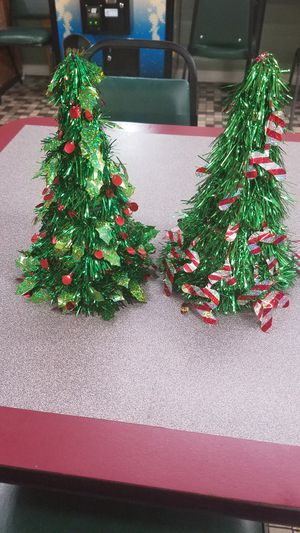 Beautiful table top Christmas tree decorations, 12 inches tall $10. each for Sale in Hessmer, LA