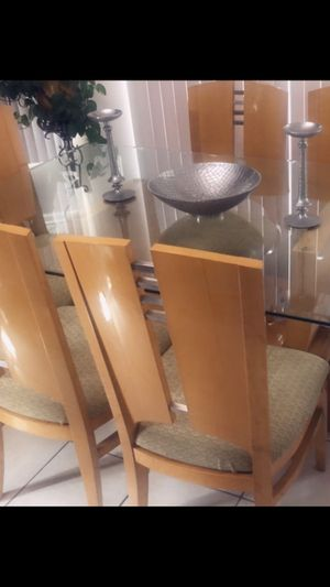 """Dining set Beautiful glass dinning room with 6 chairs set. smoke free home ,measurements are 72"""" long by 42"""" excellent condition. Asking $475 OBO ma for Sale in Shelby Charter Township, MI"""