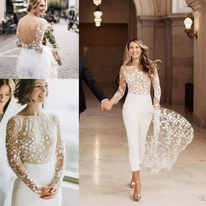 Jumpsuit A-line wedding dress jewel neck sweep/brush train lace satin long sleeve sexy see-trough modern with embroidery for Sale in Orlando, FL