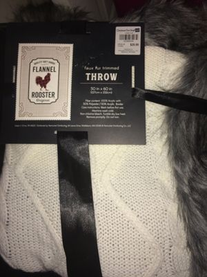 White and grey faux fur blanket for Sale in Townsend, MA