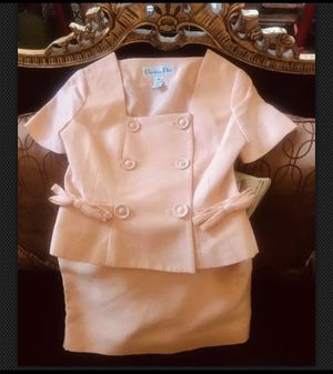 RARE VINTAGE CHRISTIAN DIOR JACKIE O KENNEDY BOW JACKET SKIRT SUIT for Sale in Chicago, IL