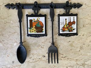 Vintage Wrought Iron Kitchen Wall Hanging Early American Style Rack Spoon Fork Tiles for Sale in Ontario, CA
