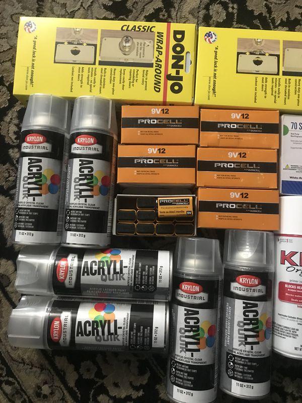 House stuff kilz- acrylic paint clear -thermostat-door knob -wrap around and batteries 9v