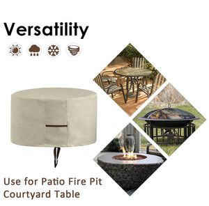 Fire Pit Cover, Patio Round Fire Pit Cover with Drawstring UV Resistant Waterproof for Outdoor Grill BBQ Cook Beige (31.5'' X 16'' (Creamy White)) for Sale in Piscataway, NJ
