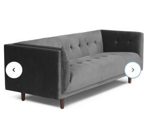 Conrad Velvet Gray Chesterfield 82' tuxedo arm sofa for Sale in Los Angeles, CA