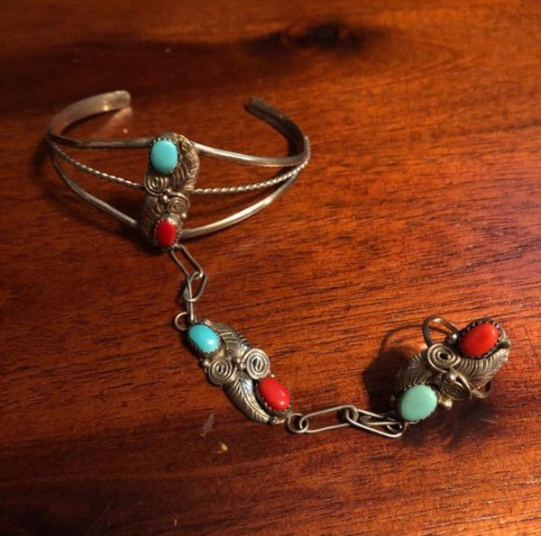 1960s 925 Sterling silver slave bracelet and Ring jewelry