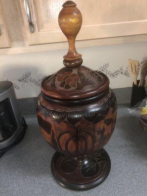 Turned Teak Hand Carved Vase for Sale in Palm Shores, FL