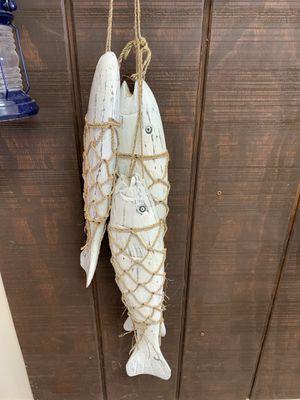 Decorative wood fish on string nautical boat beach lake decor for Sale in Gilbert, AZ