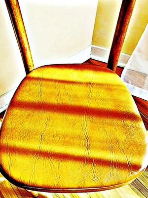 Wooden Shelby Williams Industries MCM chairs (4) with leather seat cushion. for Sale in Belmont, MA