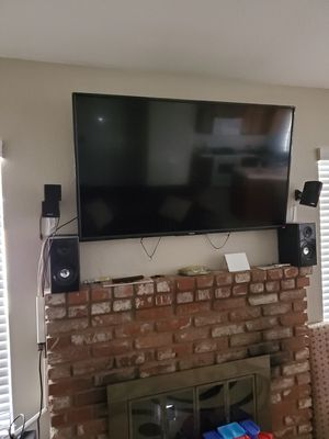 50 inch toshiba 4k smart tv with chrome cast and home theatre surround system for Sale in Riverside, CA
