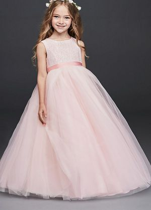 David's Bridal pink heart back flower girl pageant dress. Size 8 for Sale in Round Lake Heights, IL