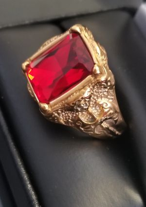 ❤Gold Tone Red Garnet 316L Stainless Steel Ring Size 12 for Sale in Silver Spring, MD