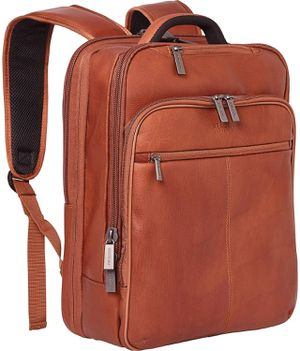 "Kenneth Cole Reaction Manhattan Colombian Leather Slim 16"" Laptop & Tablet RFID Business Backpack, Cognac, Medium for Sale in Pasadena, CA"