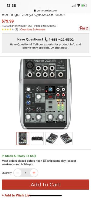 Behringer Xenyx Q502USB Mixer for Sale in San Jose, CA