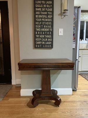 Antique fold out game table with storage for Sale in Seattle, WA