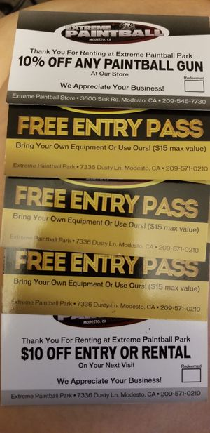 Paint ball passes for Sale in Modesto, CA