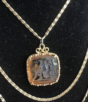 Goldstein's Triple Chain Intaglio Necklace With Amber Pendant and 5 Amber Rhinestones for Sale in Vista, CA